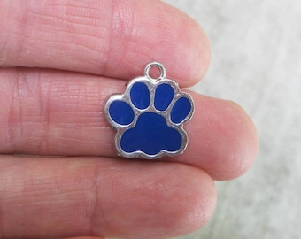 5 Dark Blue and Silver Enamel Paw Charms - C2598