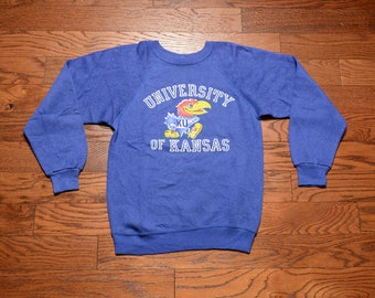 vintage 70s 80s Kansas Jayhawks sweatshirt felted logo 1970 1980 heather blue small slim slimfit S Collegiate Pacific USA