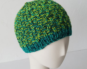 Hand Knit hat in Greens Mix – Adult One Size
