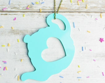 Pastel Mint Tea Necklace | Mint Green Teapot Jewellery | Extra Long Necklace | Nickel Free Colourful Jewellery
