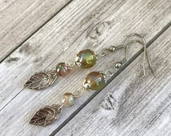 Leaf Glass earrings - long green earrings - Botanical Jewelry - Nature inspired - Gift for here - Gift for girls - bohemian earrings