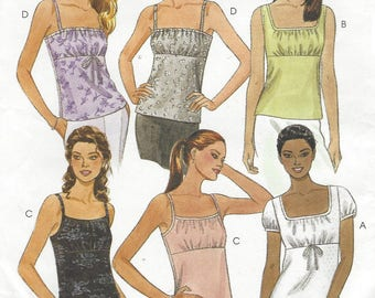 90s Womens Empire Waist Summer Tops Camisole Tops McCalls Sewing Pattern 2222 Size 16 18 Bust 38 40 UnCut Sewing Patterns