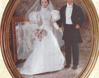 90s Linda Carr Fashion Doll Historical Wedding Bridal Gown and Tuxedo for Groom Vogue Sewing Pattern 9985/664 FF Vintage for Fashion Doll