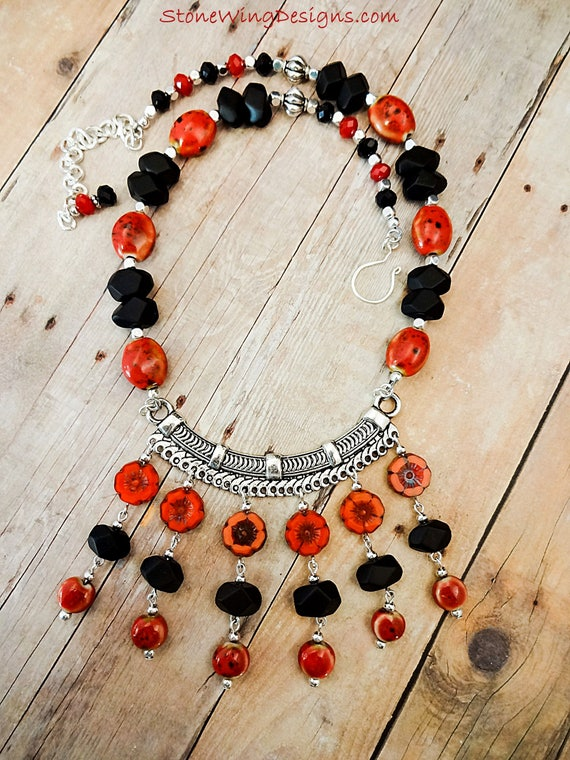 Statement Necklace in Matte Black Onyx and Red Czech Dahlias