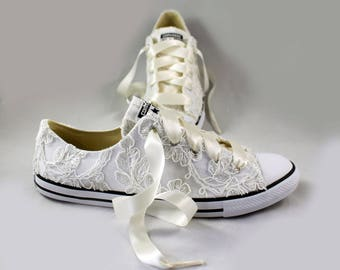 Ready to ship size 8 Lace Floral  Bridal Converses -- Ivory Lace Converse --Wedding Tennis shoes  - Wedding Converse