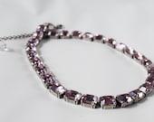 Light Amethyst Purple Swarovski Crystal Riviere Necklace, Lilac Collet Necklace, Vintage Swarovski Crystal Necklace Lavender Necklace Purple