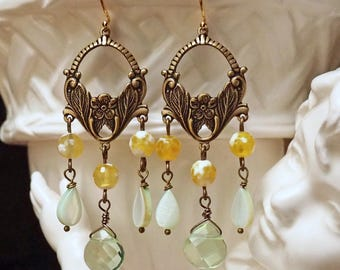 Mountain Meadow- Vintage Inspired Gemstone Chandelier Earrings- Yellow Agate, Quartz Crystal, Mother of Pearl- Green/Yellow/Gold- Unique
