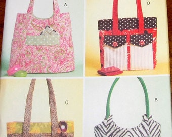 Craft Sewing Pattern Butterick 5367 Lined Totes, Shoulder Strap Bags, Soft Cloth Market Baby Beach Gym Yoga Bags with Many Pockets Uncut FF