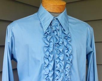 vintage 1970's 'Palm Beach' Men's Formal Tuxedo shirt. Baby Blue. Big collar - Heavy ruffles.  Large 16 1/2 x 33/34