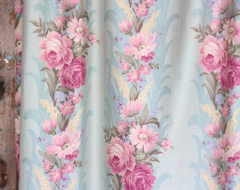 1930s 1940s 30s 40s Vintage Pink Cabbage Rose Floral Aqua Drapes Drapery Panel Curtains