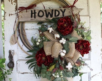 Howdy Western Rope Wreath with Burgundy Red Flowers and Cotton, Rustic Lariat Wreath, Cowboy, Country, Farmhouse, Western Home Decor, Ranch