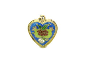 Cloisonné Enamel Heart Pendant. Pomegranate Fruits. Chinese Export. Shou Longevity, Good Luck. Gold Gilt Puffy Heart. Vintage Asian Jewelry
