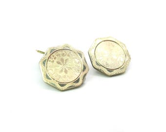 Mens Cuff Links. Art Deco White Gold, Rolled Plate Octagon Cufflinks. Engine Turned. Signed Foster Bailey. Vintage 1920s Special Occasion