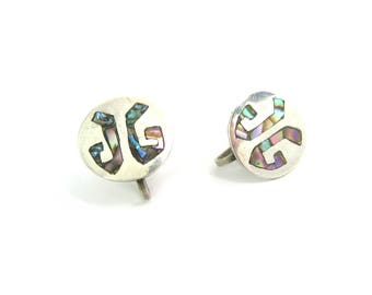 Taxco Monogram Earrings. JG Initials. Sterling Silver 925 with Abalone Shell Inlay. Disc Shape Screw Backs. Vintage 1950s Mexican Jewelry