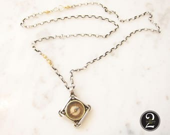 "Antique silver compass, vintage compass, silver and gold chain, 20"" two toned chain,  Two Girls Gems"