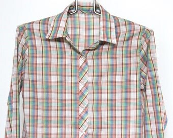 Women's Plaid Shirt Medium Sheer Thin Lightweight Boyfriend Tomboy Oxford Vintage 80s 90s Long Sleeve