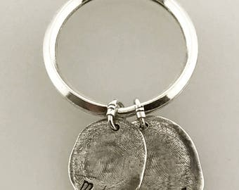 Fingerprints, two children's fingerprints, special gift for mom, fingerprint jewelry, thumbprint Key Chain