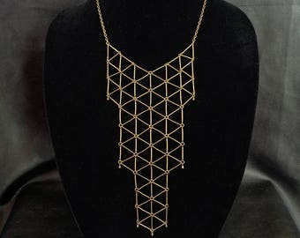 Geometric bib necklace, minimalist statement antique brass tone geo bib necklace