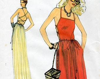 1970s Backless Criss-Cross Strap Dress Pattern Vogue 7384 Vintage Sewing Pattern Midi or Full Length Sundress or Evening Dress Bust 32.5
