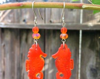 Sea Glass Seahorse Earrings, Orange Sea Glass Earrings