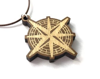 Compass Rose Wooden Inlay Pendant - Poplar on Walnut Necklace - Sustainable Wood Jewelry