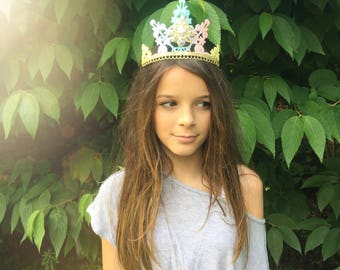 NEW Unicorn ombre Elle lace TIARA || gorgeous multi faceted embellishment || statement headpiece || Love Crush Exclusive