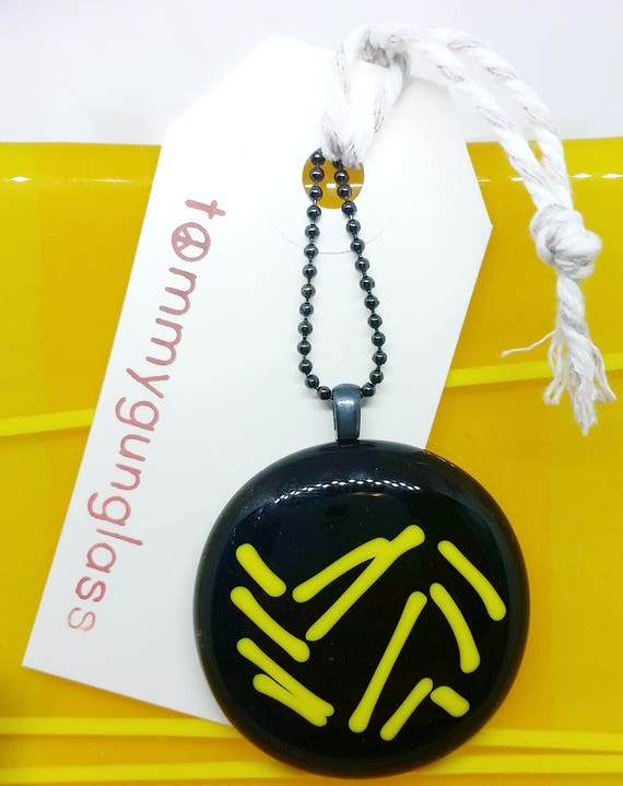 Yellow Zig Zag Line Glass Pendant with Silver Chain