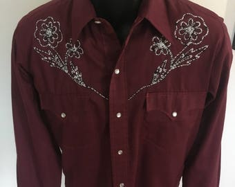 Vintage Fitted Embroidered Western Fashions Shirt - Size Small