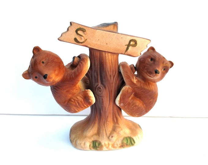 Vintage 1970's Ceramic Climbing Bears Salt and Pepper Shakers with Tree