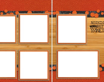 Basketball Court  - Digital Scrapbook Quick Pages - INSTANT DOWNLOAD