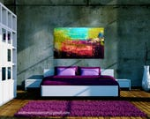 Large Canvas Wall Art Abstract Textured Painting Contemporary Office Decor.  Purple, magenta, turquoise, green
