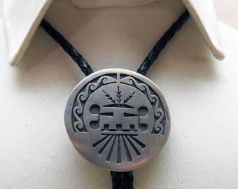 Vintage Hopi Sterling Overlay Bolo Tie