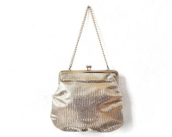 Vintage Gold Evening Cocktail Bag Purse with Chain Strap