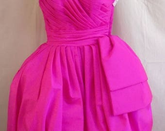 Vintage 1980s Formal Victor Costa Hot Pink Bubble Skirt XXS
