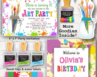 EDITABLE ART PARTY Printables, Art Party Invitation, Painting party, Craft Party Printables, Edit with Adobe Reader.