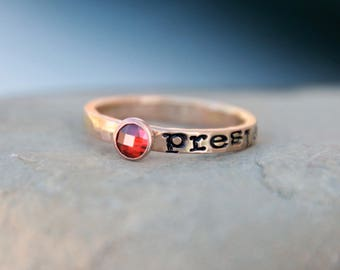 Hand Stamped Birthstone Ring -  SILVER, GOLD, PINK Gold - Mother's Ring - Kids name ring - Birthstone Ring - Name Ring, Stacking Ring