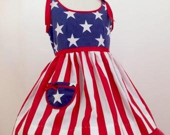 Girl's Little Patriot Sundress, Vintage Style, Summer Sundress