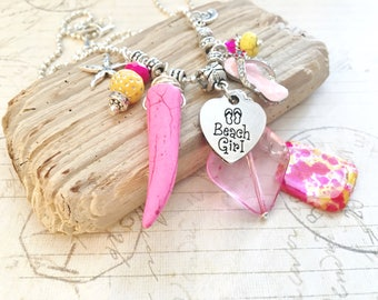 Beach Girl Necklace, Beach Girl Jewelry, Beach Lovers Gift for Her, Boho Beach Necklace, Bohemian Beach Jewelry, Beachcomber Jewelry