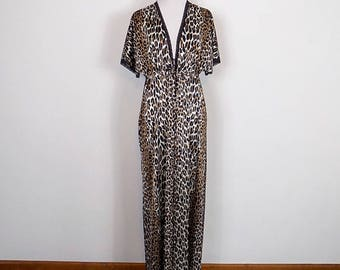 Vintage Vanity Fair Leopard Print Robe - 60s Animal Print - One Size Fits All