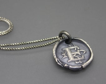 Wax Seal Necklace, Wax Seal Jewelry, Letter Seal Jewelry, Initial Necklace, Initial Jewelry, Monogram Necklace, Monogram Jewelry