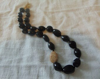 vtg nolan miller necklace pave crystal bean black beads toggle necklace gold statement nm