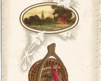 Thanksgiving Greeting Traditional Turkey with Wishbone for Good luck and Prosperity Church Scene Vintage Postcard