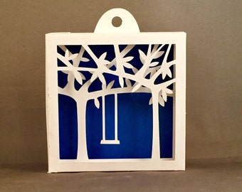 3D Shadowbox Tree Swing for Nursery Decorating / First Anniversary Kirigami Papercutting | Babyshower Gift | 1st Anniversary Gift Papercut