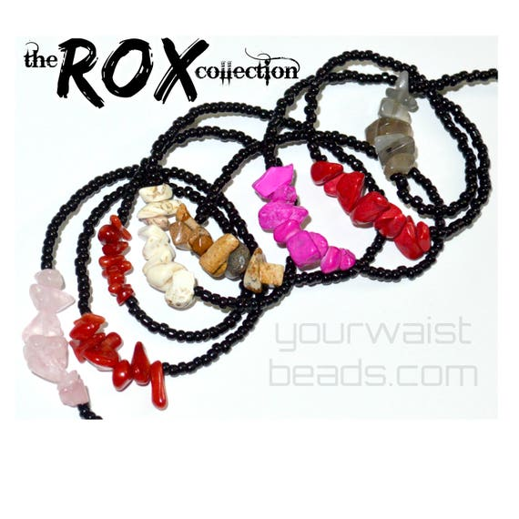 Waist Beads w. Natural Stones ~ Pick Your Colors! ~ YourWaistBeads.com ~ the ROX collection