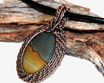Stone Pendant with Wire Weave Copper Wire Frame, Succor Creek Jasper Cabochon, Natural Landscape, Desert Sky Scenery, Nature in Stone