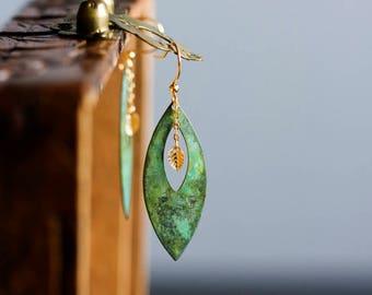 Leaf Dangle Earrings Green Leaf Earrings Boho Bohemian Earrings Rustic Jewelry Patina Jewelry Gift for Her Verdigris Leaf Jewelry - E346