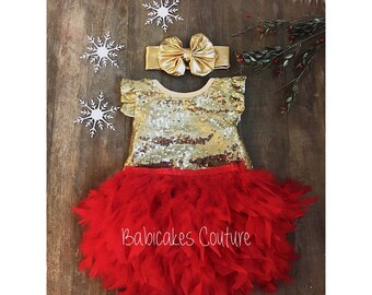 Babys 1st Christmas, Full Feather Tutu, Baby Gold Sequin Bodysuit, Gold Headband, Red and Gold 1st Birthday, 1st Birthday Girl Outfit