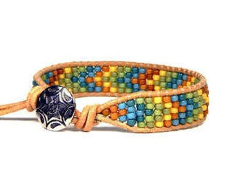 Bead Loom Bracelet Leather Wrap Bracelet Blue Green Yellow Chevron Seed Bead Bracelet Leather Wrap Bracelet Boho Bracelet Bohemian Jewelry