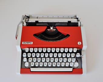 Vintage Manual Typewriter Orange Olympia Traveller 1975