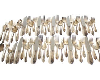 Oneida Silverware Set Queen Bess II Silverplate Flatware Service for 10, 4-pc place settings Tudor Plate with Serving Pieces